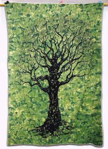 Tree Print Wall Tapestry Table Runner Green Twin Size Bed