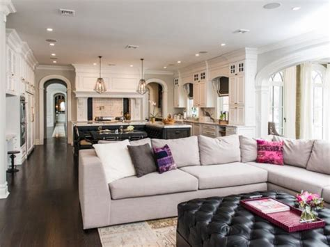 Open Living Room and Kitchen With Sectional Sofa   HGTV
