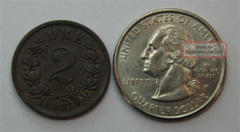 1897 Norway 2 Ore Bronze Coin Uncirculated