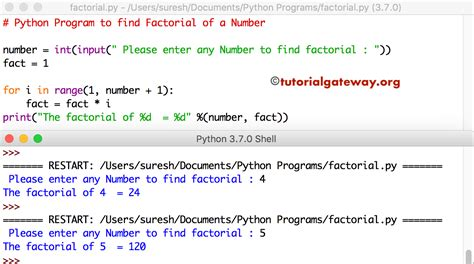 Python Program to find Factorial of a Number