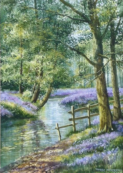 Secret Bluebell Wood 12 x 18 inches Watercolour on