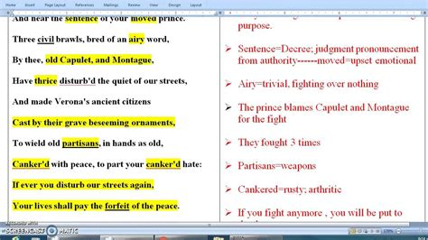 "Shakespeare's Romeo and Juliet -- Prince Escalus, ""Act I"