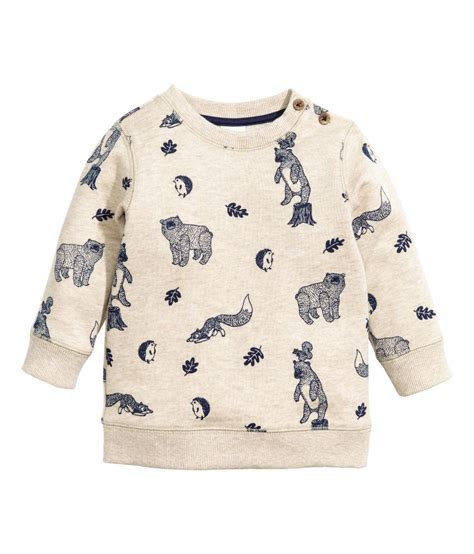 Check this out! Long-sleeved top in printed sweatshirt