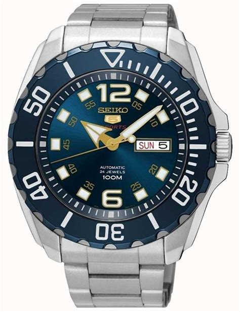Seiko 5 Men's Sport Date & Day Display Blue Dial Stainless