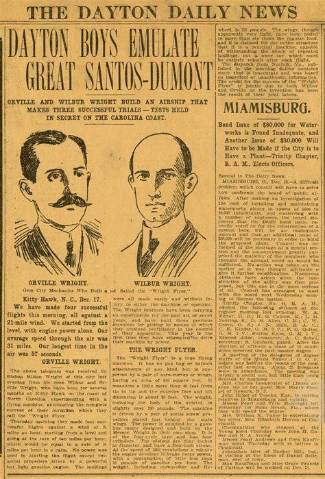 Wright Brothers' First Flight, Dayton Daily News, Dec