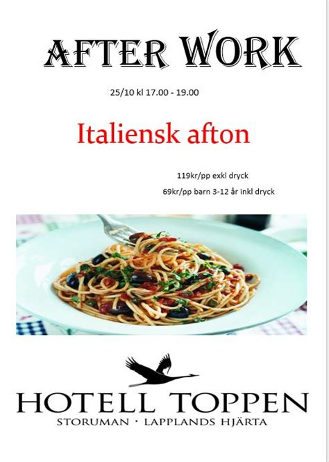 After Work Italiensk afton   Hotell Toppen