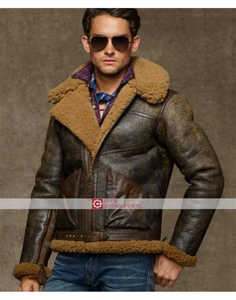 Ralph Lauren Style Shearling Brown Bomber Polo Jacket