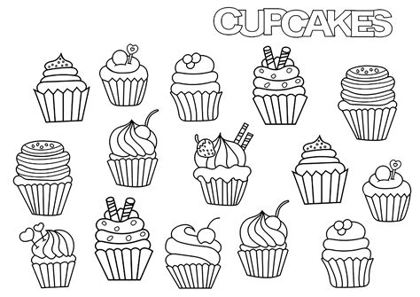 Cupcakes Doodle - Cupcakes Adult Coloring Pages